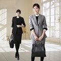2016 primavera outono mulheres entrevista Formal escritório trabalho ternos saia de manga longa OL fino um botão elegante terno de negócio W198