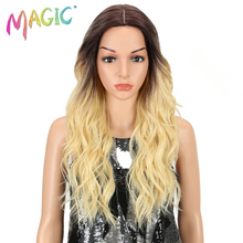 MAGIC Hair Medium Length 24 Inch Wave Synthetic Wigs For Black Women Blonde Lace Front Wig Synthetic African American Wigs cos wig new fashion male wave brown wig medium length wigs men synthetic hairpiece for business men free shipping