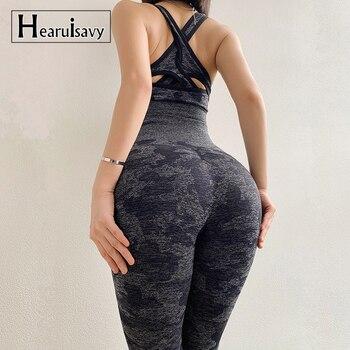b840dc67f 2019 Camo sin polainas deporte de 2 piezas de Yoga las mujeres gimnasio ropa  de cintura