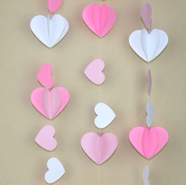 2pcspack pinks white heart garland 3d valentines garland wedding babyroom decoration diy