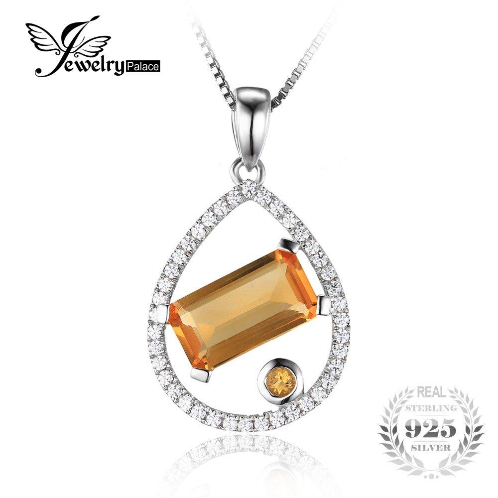 JewelryPalace Diverses Formes 2.2ct Jaune Véritable Citrine Pendentif 925 Sterling Argent Comprend Pas une Chaîne Fine Bijoux Pour Femmes