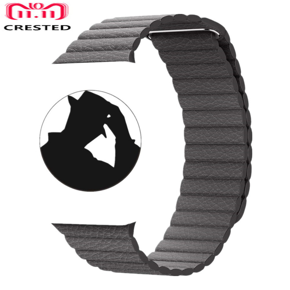 CRESTED Genuine Leather Loop For Apple Watch band strap 42mm/38mm iwatch series 3 2 1 wrist bands bracelet belt watchband straps crested crazy horse strap for apple watch band 42mm 38mm iwatch series 3 2 1 leather straps wrist bands watchband bracelet belt