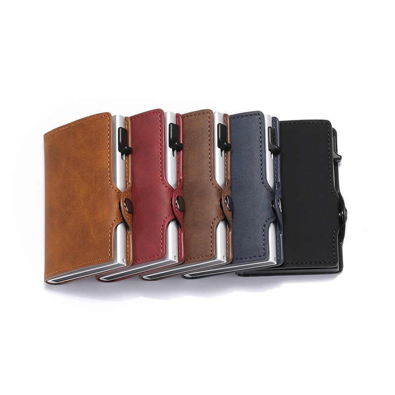 Slymaoyi, tarjetero antirrobo Vintage para hombre, billetera de cuero Rfid con bloqueo, información de seguridad Unisex, monedero de Metal de aluminio