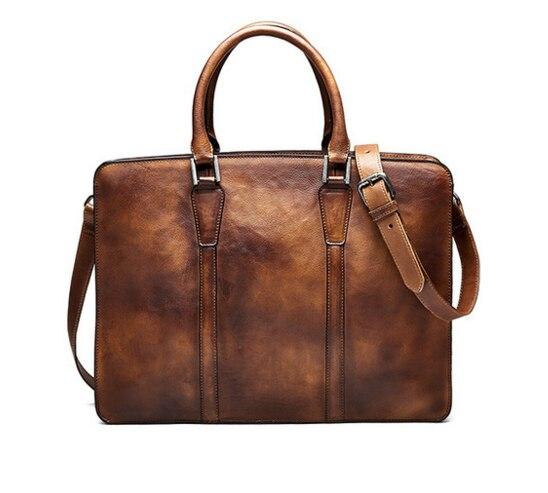 Retro Men Genuine Leather Briefcases Simple Crossbody Shoulder Laptop Messenger Cowhide Bags Business Travel Handbags D246