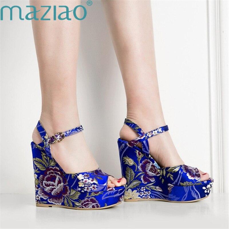 D'été Maziao Chaussures Bleu jaune À Caoutchouc Bout Femme Bleu Casual Boucle Brodé Sandale Avec Talon Ouvert Compensé Sandales Ygybf7v6