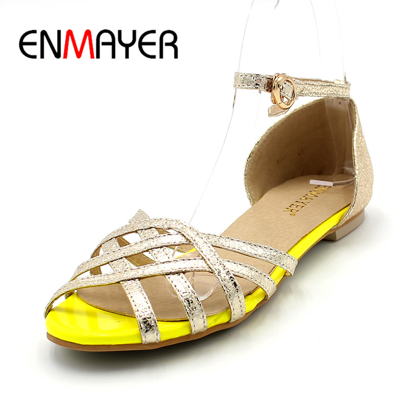 ENMAYER Big Size 34-47 HOT Sale New Summer Women Sandals Women's FlatsRome Style High Quality Ladies Flat Sandals Women's Shoes anmairon shallow leisure striped sandals women flats shoes new big size34 43 pu free shipping fashion hot sale platform sandals