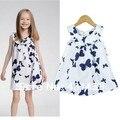 Бесплатная доставка следующий 2013 девочка платье 100% хлопок бабочка печать милый рубашка платье на бретелях - цельный платье лучших