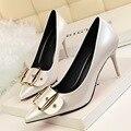 Nuevo Otoño Primavera Oficina Bombas Delgadas Europa Elegantes Tacones Altos Señalaron Los zapatos de Tacón Zapatos de tacón alto OL de Las Mujeres Abrochan Los Zapatos G2024-1
