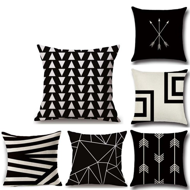 Black&White Geometric Patterns Decorative Pillow Covers