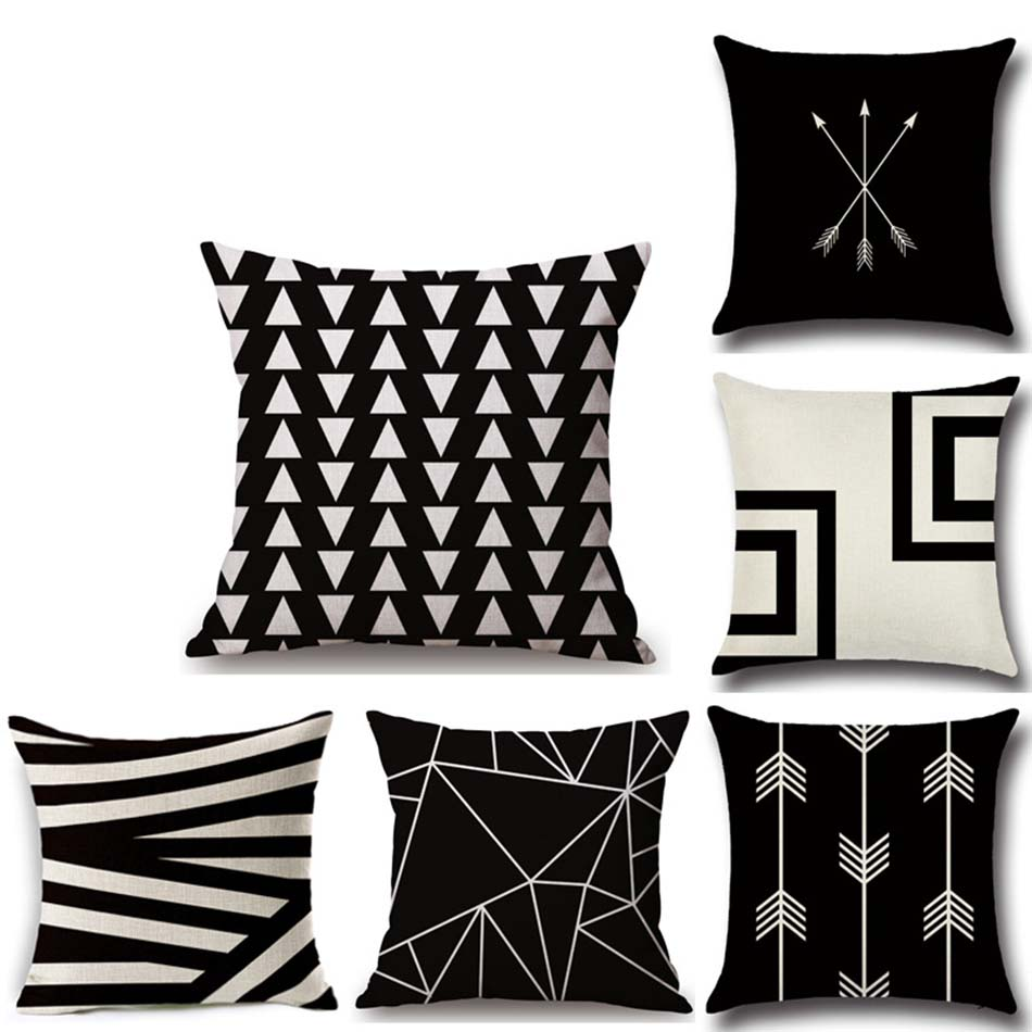 1pc Linen Geometric Line <font><b>Pillow</b></font> cover Stock 45 * 45cm Simple and Modern Simple back rest lazyback pillowcase Decorative bedding