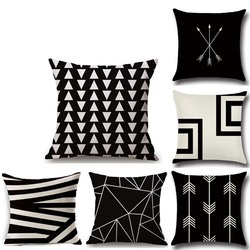 1pc linho linha geométrica fronha capa de almofada estoque 45*45 cm simples e moderno encosto simples lazyback fronha decorativa cama