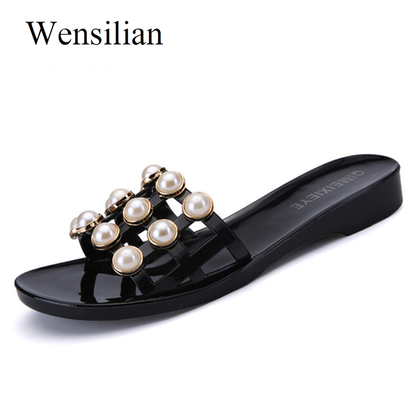Fashion Slippers Women Sandals Slip On Beach Shoes Femal Flats Summer Slides String Bead Soft Ladies Casual Shoes Zapatos Mujer instantarts women casual light beach flats sandals 3d skull punk printed air mesh slip on woman slipper ladies comfortable shoes