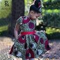 África estilo 2016 chica de moda de verano de cuello redondo manga corta dress niños ropa de áfrica batik kids lovely girls clothes