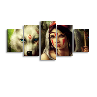 5 Pieces High Definition Print Princess Mononoke Wolf Canvas Oil Painting Poster And Wall Art Living