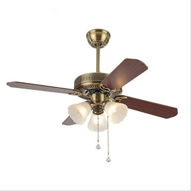 42 Vintage European Wood Leaf Led E27 3 Ceiling Fans Light For Living Room