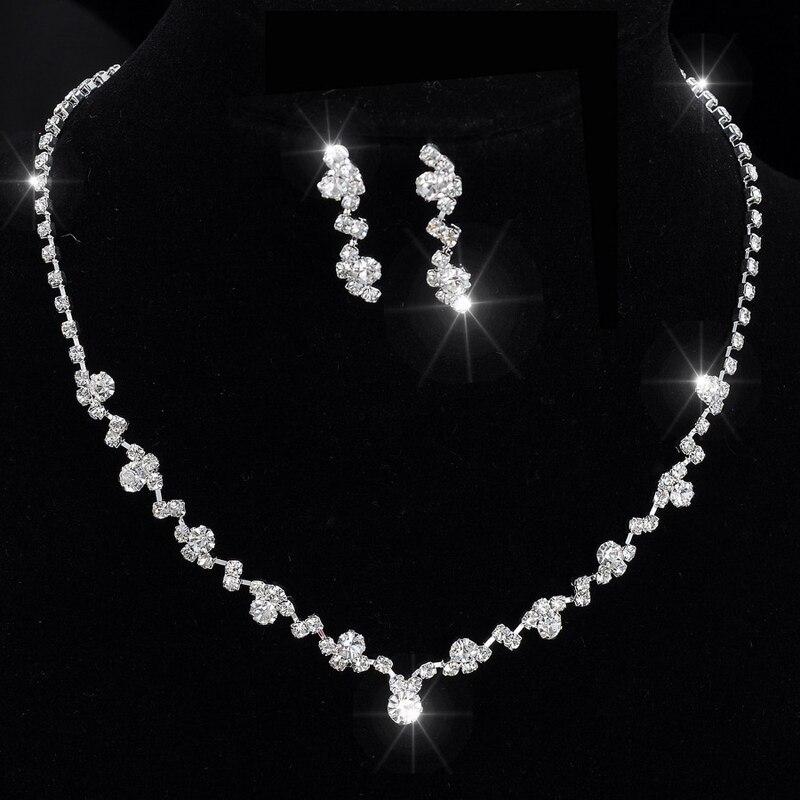 El Tono de plata de Cristal de Tenis Pendientes Determinados Del Collar de Gargantilla Precio de