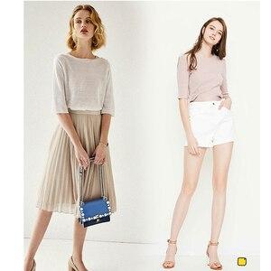 Image 5 - T shirt dété en lin tricoté fin et léger, matériaux élastiques du vêtement 100% en lin, tissus de bricolage, livraison gratuite