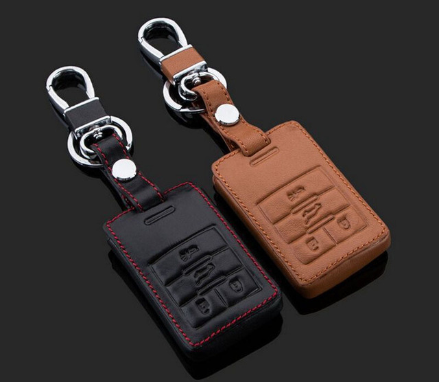 Keychain Genuine Leather Car Key Case Cover Smart Car Key Ring Chain For Cadillac SRX XTS SLS CTS ATS Accessories