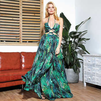 LOVE&LEMONADE Sexy Cut Out Cross Straps Open Black Leaf Print Beach Maxi Dress LM81811 - DISCOUNT ITEM  10% OFF All Category