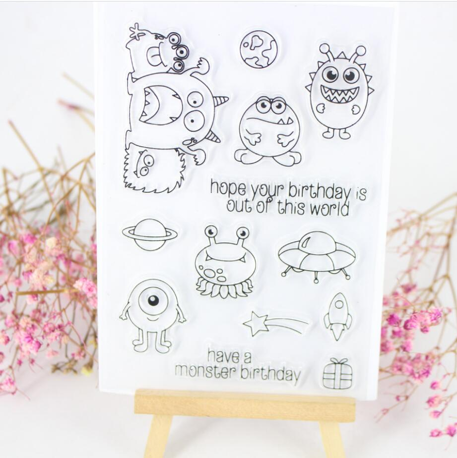 Little Monsters Seal Transparent Clear Stamp DIY Silicone Seals Scrapbooking Album Decoration Kids Fun Stamp Sheets