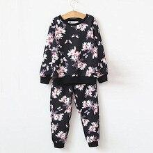 Haute Qualité Mode Filles Vêtements Ensembles Floral Style Sweat + Pantalon 2 pcs Printemps Automne Bébé Filles Vêtements Set 2016 marque nouveau