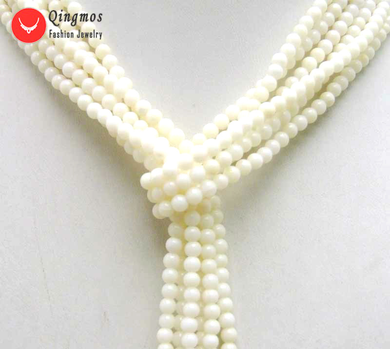 """Natural 3 Strands White Round Natural Coral 45/"""" Shawl Long Necklace for Women"""