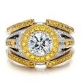 Luxury European 14k 585 Two-tone Gold 1ct Round  Moissanites Lab Grown Diamond Wedding Sets Ring For Women Bridal Jewelry Gift