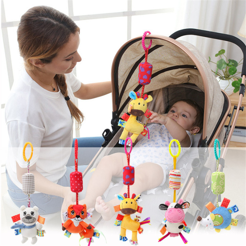 Baby Kids Rattle Toys Cartoon Animal Plush Hand For Baby Stroller Car Bed Hanging Bell Stuff Animals Baby Toys 0-24 Months