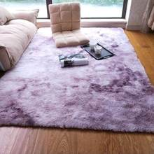 Luxury Rectangle Gradient color Sheepskin Hairy Carpet Faux Mat Seat Pad Fur Plain Fluffy Soft Area Rug Home Decor Washable mat(China)