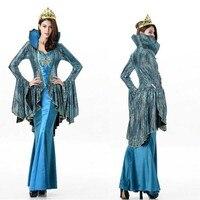 Women Cleopatra Halloween Costume Greek Goddess Queen Cosplay Costume Blue Vintage Long Dress Carnival Costume Lady Fancy Dress
