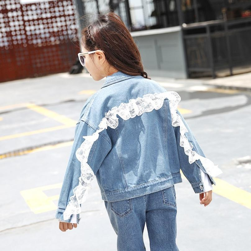 2019 Autumn new girls denim jacket back lace spliced loose casual jean coat jacket for girls modis kids clothes outerwear Y1778