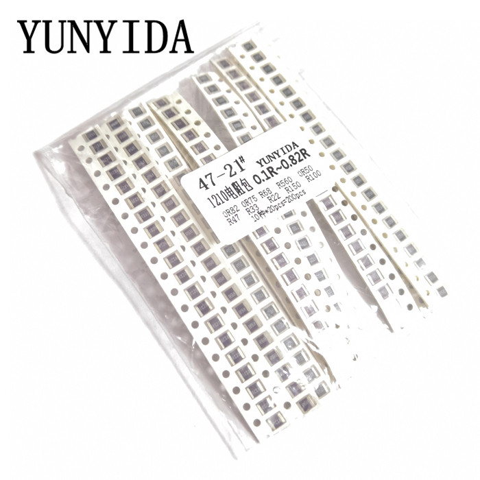 200PCS 5% <font><b>1210</b></font> <font><b>SMD</b></font> <font><b>resistors</b></font> assorted kit set ,10 valueX20pcs=200pcs 0R82 0R75 R68 R560 0R50 R47 R33 R22 R150 R100 image