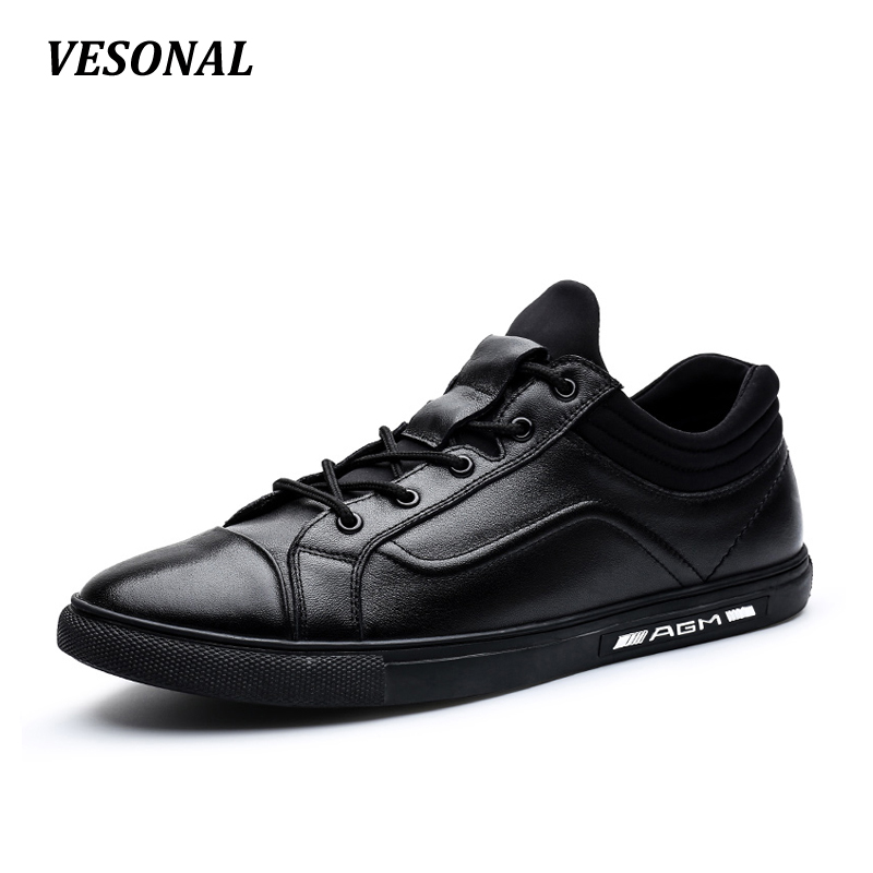 VESONAL Low Top 100% Luxury Genuine Leather High Quality Patchwork Men Shoes Fashion Mens Shoes Casual Designer Black SD7056 vesonal summer 100