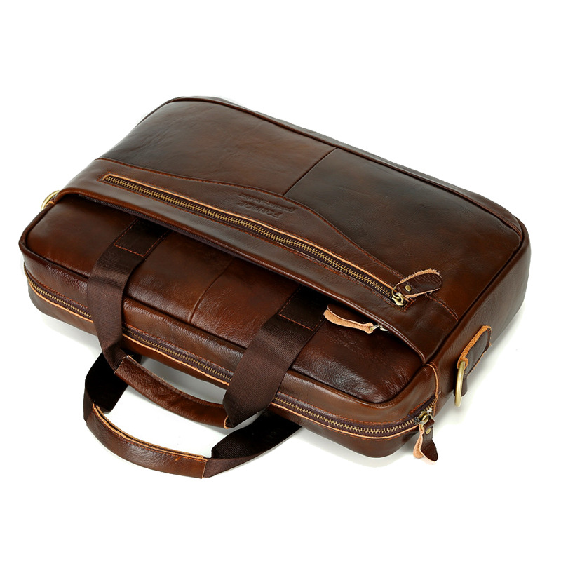 New Luxury 100 Cow Genuine Leather Business Men s Briefcase Male Shoulder Bag Real Leather Messenger