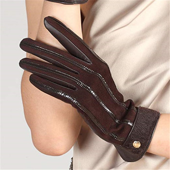 Autumn Winter Lady New Genuine Leather Gloves Female Imported Sheepskin Wool Lined Touch Screen Woman EL046NZ2