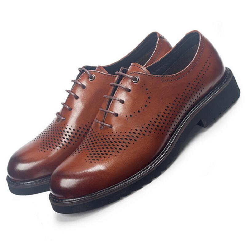 Preto Genuíno Sapatos Plus Do Acima Ata Couro Vestido De Size Homem Preto Homens Calçado Escavar Italiano Sapatas Mycolen Respirável marrom Marrom Formal fq0wv4tt