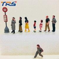 9 unids modelo Kits de construcción Figura 1: 87 cola transporte público corriendo a la gente para el tren escena Accesorios