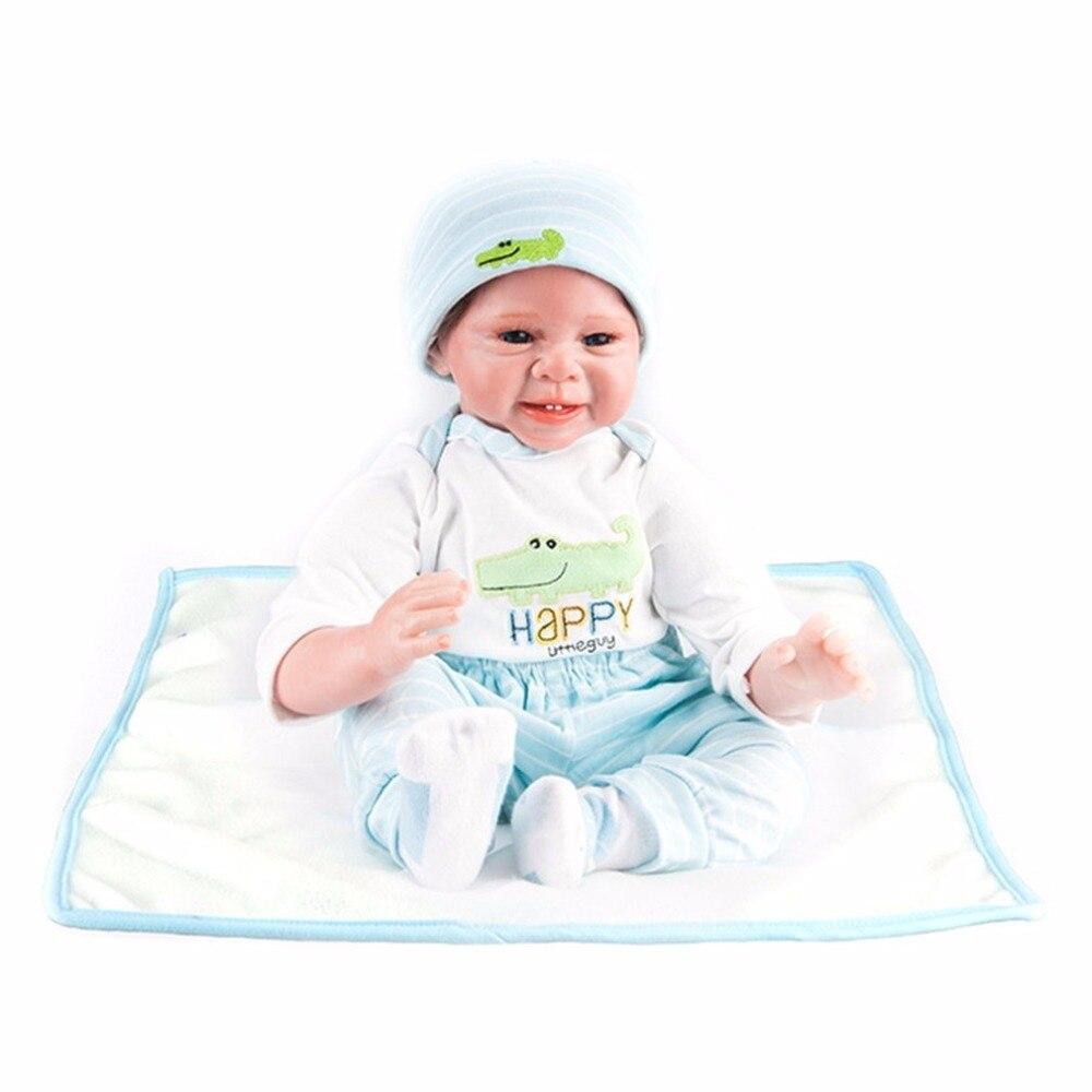 Mignon 55 cm son rire Reborn bébé poupées jouet bleu vêtements doux Silicone réaliste nouveau-né bébé jouets pour garçons filles cadeau d'anniversaire