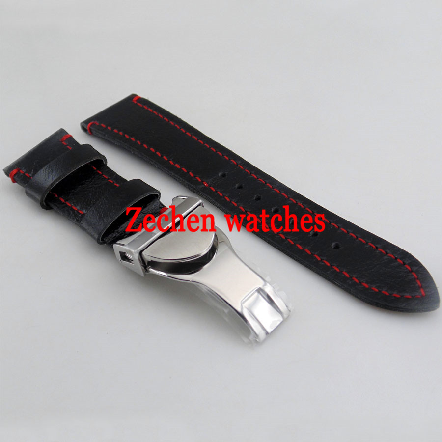 Goutent 22mm Black Leather Watch Strap 316L Steel Deployment Buckle Watch Bands цена и фото