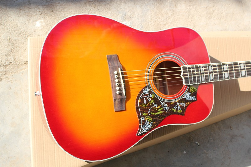 Firehawk China Factory Custom Shop Hummingbird Model Cherry Red Burst Spurce Top Maple Back & Sides Acoustic Guitar in stock 2018 china factory hot 41 guitar pickguard hummingbird acoustic guitar pickguard 2mm thickness free shipping