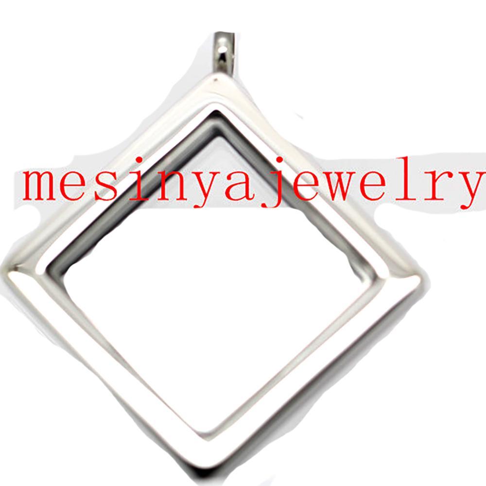 Takı ve Aksesuarları'ten Gerdanlıklar'de 10 adet 316L Paslanmaz çelik kare manyetik düz cam madalyon için yüzer takılar keepsaking Xmas hediyeler hiçbir zincir ve toka'da  Grup 1