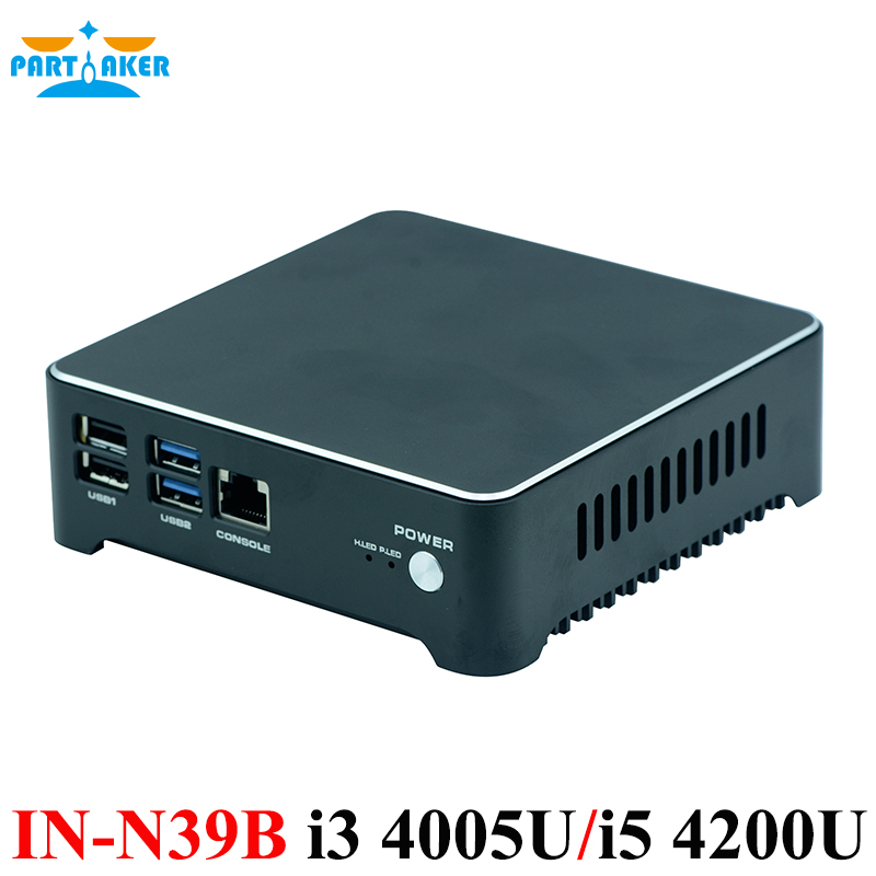 Partaker Mini PC Router I3 4005U I5 4200U J1900 Dual Lan Firewall Appliance Fan and Fanless System Aluminum Alloy Free Shipping fiscal end aluminum fanless embedded computer with i3 3217u 6com 4g ram onboard 2 intel lan support wake on lan dual 24bit lvds