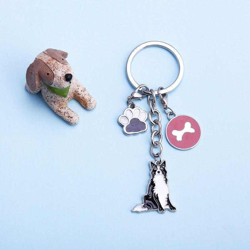 Golden Retriev Chihuahua Bulldog Dog Key Chain Pet Metal Key Ring Jewelry Women Bag Charm Keyring Holder Pendant Dog Lovers Gift