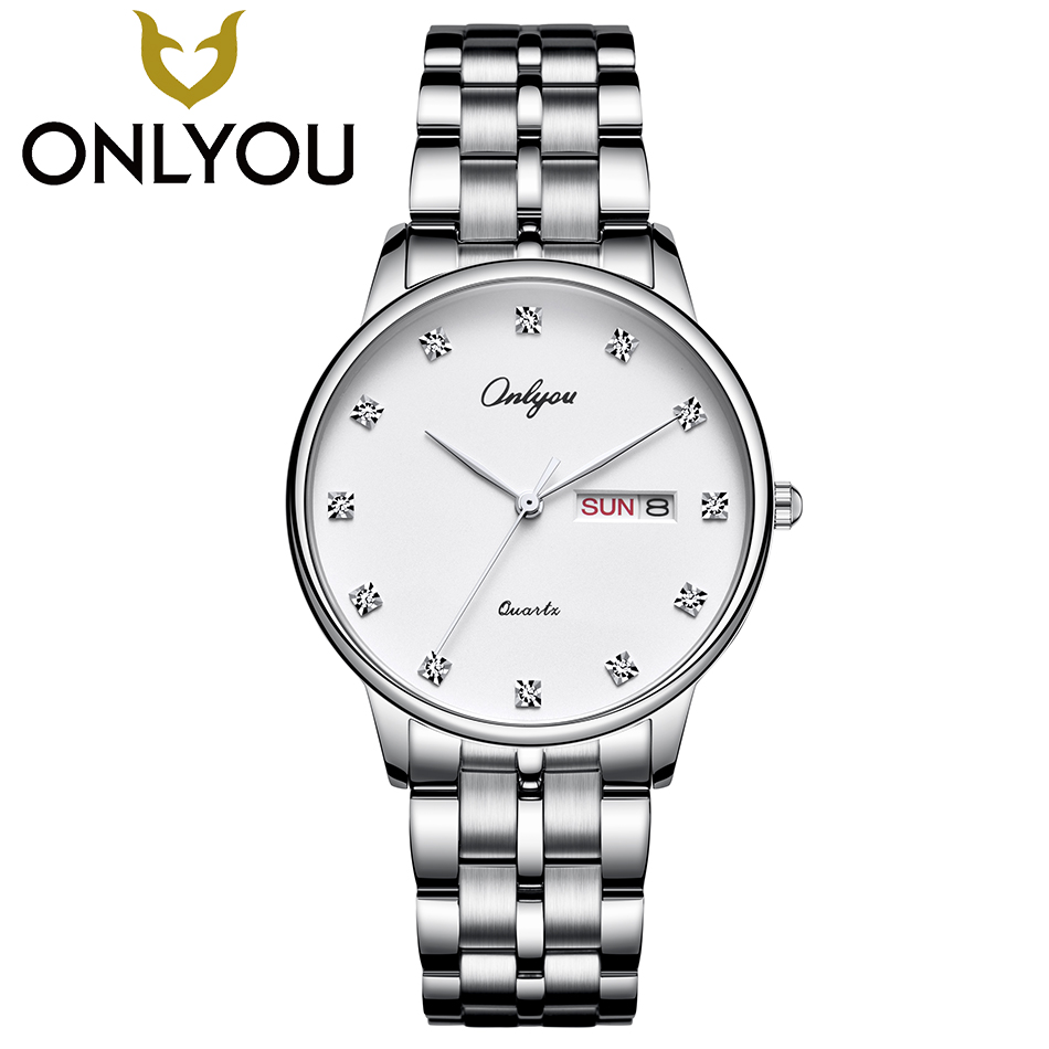 ONLYOU Lover Luxury Diamond Watches Men Business Quartz Clock Women Fashion Elegant Wristwatch Ladies Dress Date Casual Watch onlyou men s watch women unique fashion leisure quartz watches band brown watch male clock ladies dress wristwatch black men