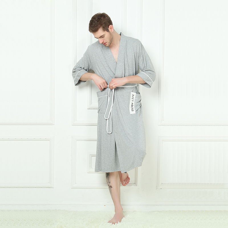 2bafa86df4 XMS Brand Bamboo Fiber Men s Stain Robe Bamboo Bathrobe Men Sleepwear  Modern Style Soft Embroidery Label Nightgown for Male-in Robes from  Underwear ...