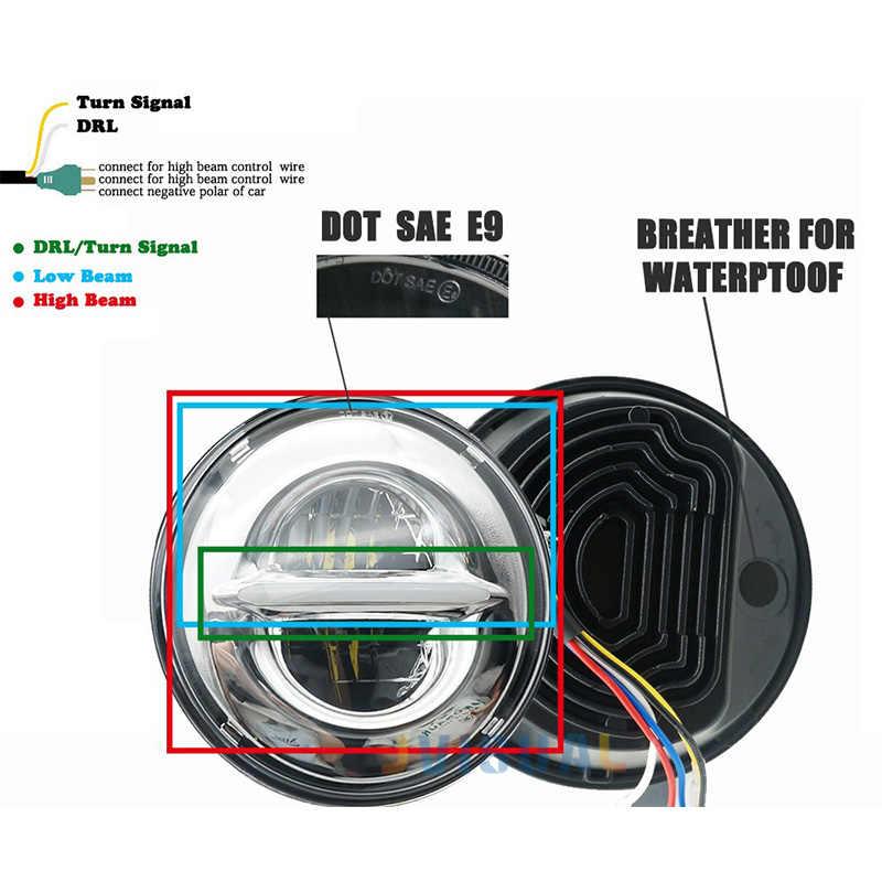 7 بوصة عالية/منخفضة LED العلوي الأبيض DRL + الأصفر بدوره إشارة ل لادا 4x4 الحضرية نيفا ل جيب ونغلر هامر لاند روفر المدافع