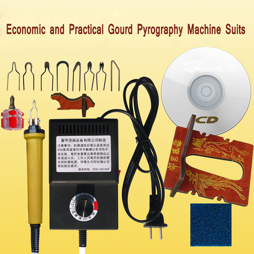 ФОТО 1PC Economical and Practical PYROGRAPHY TOOL gourd pyrography machine +8 pcs Pyrography penpoint 110V/220V 25W