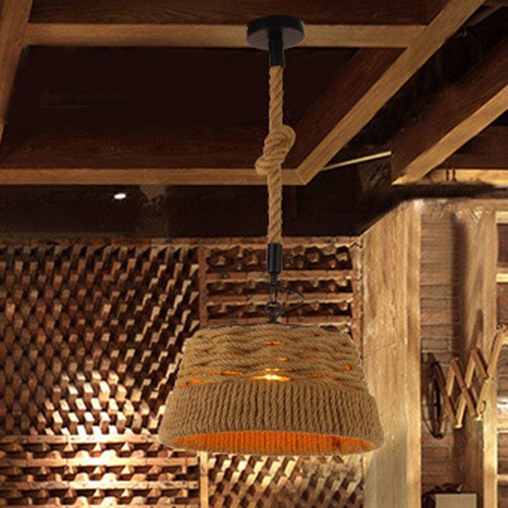Retro Hemp Rope Wrought Iron Pendant Lamp American Pastoral Bar Cafe Restaurant pendant light indoor deco Lighting art lamps цена и фото