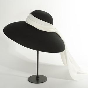 Image 1 - 01810 HH8122 winter warm % wool Catwalk model wind brim white ribbon  leisure lady fedoras cap  women warm outdoor hat