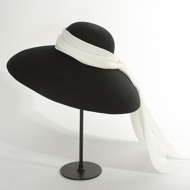 01810 HH8122 winter warm % wool Catwalk model wind brim white ribbon  leisure lady fedoras cap  women warm outdoor hat
